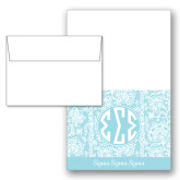 Designer Folded Notecards/Envelopes w/ Seaglass Lace Pattern 10/pkg-Blue Lace Pattern