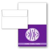 Designer Folded Notecards/Envelopes w/Dot Pattern 10/pkg-Dot Pattern Sorority Colors