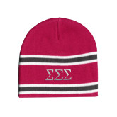 Pink/Charcoal/White Striped Knit Beanie-Greek Letters - One Color