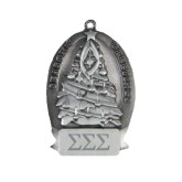 Pewter Tree Ornament-Greek Letters - One Color Engraved
