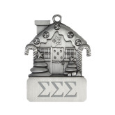 Pewter House Ornament-Greek Letters - One Color Engraved