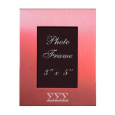 Pink Brushed Aluminum 3 x 5 Photo Frame-Greek Letters - One Color Engraved