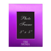 Purple Brushed Aluminum 3 x 5 Photo Frame-Tri Sigma Stacked - Official Engraved