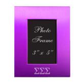 Purple Brushed Aluminum 3 x 5 Photo Frame-Greek Letters - One Color Engraved