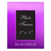 Purple Brushed Aluminum 3 x 5 Photo Frame-Big Sis Lil Sis Engraved