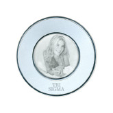 Silver Two Tone Small Round Photo Frame-Tri Sigma Stacked - Official Engraved