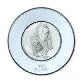 Silver Two Tone Big Round Photo Frame-Tri Sigma Stacked - Official Engraved