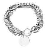 Olivia Sorelle Silver Round Pendant Multi strand Bracelet-Big Greek Letters Stacked Engraved