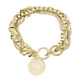 Olivia Sorelle Gold Round Pendant Multi strand Bracelet-Big Greek Letters Stacked Engraved