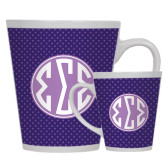 Full Color Latte Mug 12oz-Dot Pattern Sorority Colors