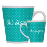Full Color Latte Mug 12oz-Seaglass Dot Pattern