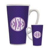Full Color Latte Mug 17oz-Dot Pattern Sorority Colors