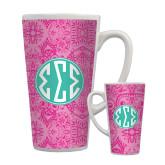 Full Color Latte Mug 17oz-Pink India Pattern