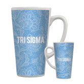 Full Color Latte Mug 17oz-Blue Lace Pattern