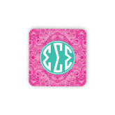 Hardboard Coaster w/Cork Backing-Pink India Pattern