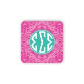 Hardboard Coaster w/Cork Backing-Pink India Pattern