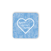 Hardboard Coaster w/Cork Backing-Blue Lace Pattern