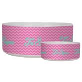 Ceramic Dog Bowl-Pink Chevron Pattern