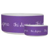 Ceramic Dog Bowl-Purple Dot Pattern