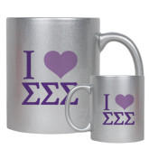 Full Color Silver Metallic Mug 11oz-I Heart