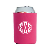 Neoprene Hot Pink Can Holder-Monogram in Circle