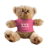Plush Big Paw 8 1/2 inch Brown Bear w/Pink Shirt-Greek Letters - One Color