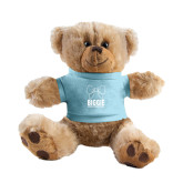 Plush Big Paw 8 1/2 inch Brown Bear w/Light Blue Shirt-Biggie Bow