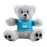 Plush Big Paw 8 1/2 inch White Bear w/Light Blue Shirt-Biggie Bow