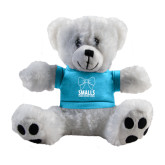 Plush Big Paw 8 1/2 inch White Bear w/Light Blue Shirt-Smalls Bow