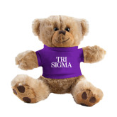 Plush Big Paw 8 1/2 inch Brown Bear w/Purple Shirt-Tri Sigma Stacked - Official