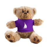Plush Big Paw 8 1/2 inch Brown Bear w/Purple Shirt-Sailboat
