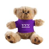 Plush Big Paw 8 1/2 inch Brown Bear w/Purple Shirt-Greek Letters - One Color