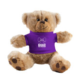 Plush Big Paw 8 1/2 inch Brown Bear w/Purple Shirt-Biggie Bow
