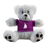 Plush Big Paw 8 1/2 inch White Bear w/Purple Shirt-Sailboat
