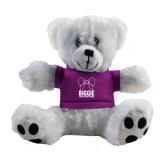 Plush Big Paw 8 1/2 inch White Bear w/Purple Shirt-Biggie Bow