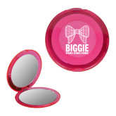 Pink Round Compact With 2x Magnifier Mirror-Biggie Bow