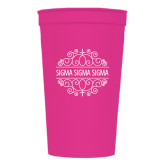 22 oz Pink Transparent Stadium Cup-Sigma Sigma Sigma Swirls