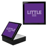 Ebony Black Accessory Box With 6 x 6 Tile-Block Letters w/ Pattern Little