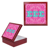 Red Mahogany Accessory Box With 6 x 6 Tile-Pink India Pattern
