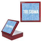 Red Mahogany Accessory Box With 6 x 6 Tile-Blue Lace Pattern