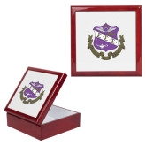 Red Mahogany Accessory Box With 6 x 6 Tile-Crest