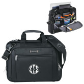 Kenneth Cole Black Vertical Checkpoint Friendly Messenger-Monogram in Circle