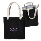 Allie Black Canvas Tote-Greek Letters - One Color
