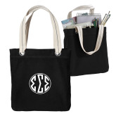 Allie Black Canvas Tote-Monogram in Circle