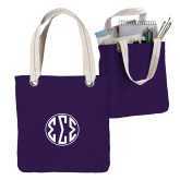 Allie Purple Canvas Tote-Monogram in Circle