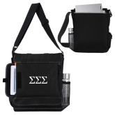 Impact Vertical Black Computer Messenger Bag-Greek Letters - One Color