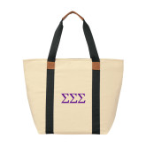 Natural/Black Saratoga Tote-Greek Letters - One Color