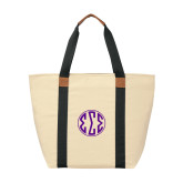 Natural/Black Saratoga Tote-Monogram in Circle