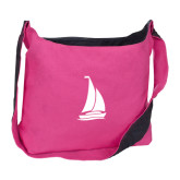 Cotton Canvas Tropical Pink/Charcoal Sling Bag-Sailboat