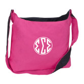 Cotton Canvas Tropical Pink/Charcoal Sling Bag-Monogram in Circle